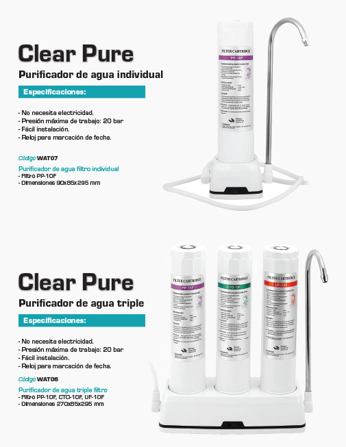 Filtros Purificadores Clear Pure Carbone
